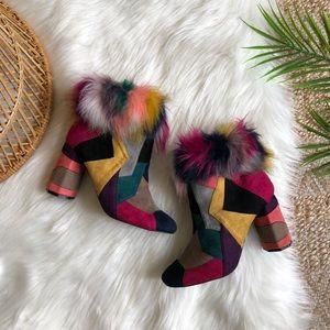 Penny Loves Kenny Khola Multicolor Fur Boots 7